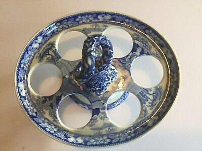 ANTIQUE SPODE C1820 EGG CUP STAND - RARE BLOSSOM PATTERN. Excellent condition