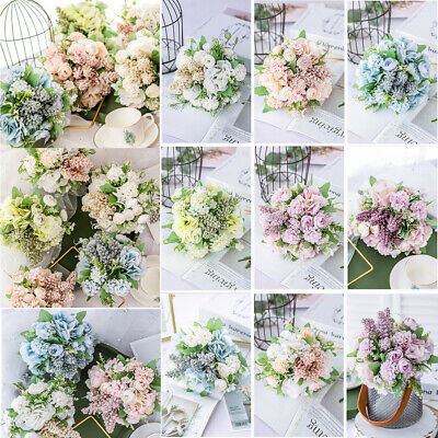 13 Heads Artificial Silk Flowers Real Touch Bridal Wedding Bouquet Home Decor