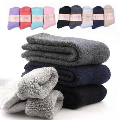 Women Men Wool Cashmere Thick Warm Soft Solid Casual Sports Socks Winter