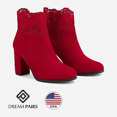 DREAM PAIRS Women Booties High Heel Ankle Boots Lace Faur Fur Lining Warm Shoes