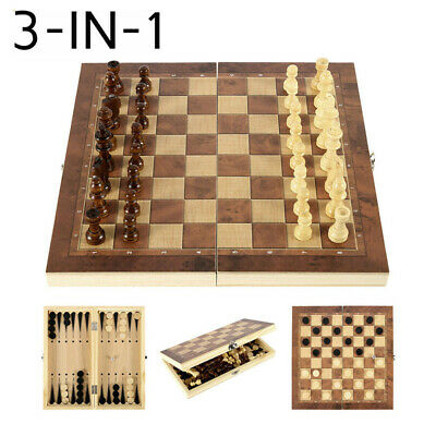 3 in 1 Folding Chess Wooden Set Board Game Checkers Backgammon Draughts Toy AU