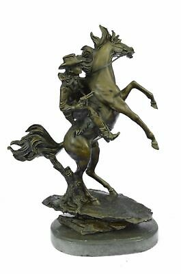 100% Bronze Cowboy on Horse Statue southwestern-decorative-objects-and-figurines