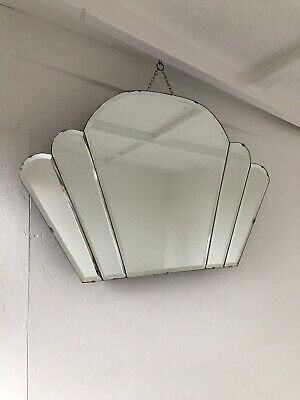 Art Deco Fan Mirror With Lovely Panels Very Old Marks Patina