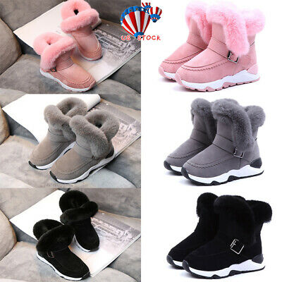 Toddler Kids Winter Sneakers Shoes Girls Boys Warm Fur Lined Snow Ankle Boots US
