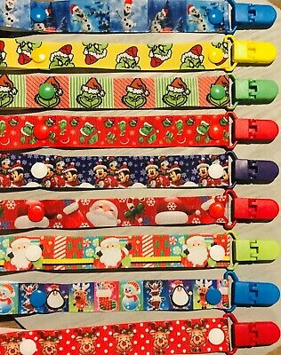 CHRISTMAS Baby Boy/Girl Dummy Clip/Pacifier Chain/Binky Band/Soother