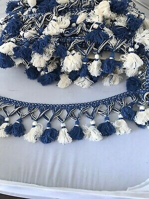 Tassel Upholstery Trim Blue And White 15 M