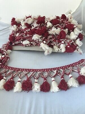 tassel Upholstery trim Red And White 13 M