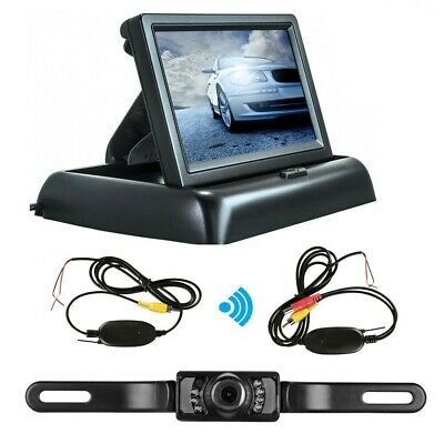 Wireless Camera Kit + Fold LCD Monitor for Car Front Rear Reversing Number Plate