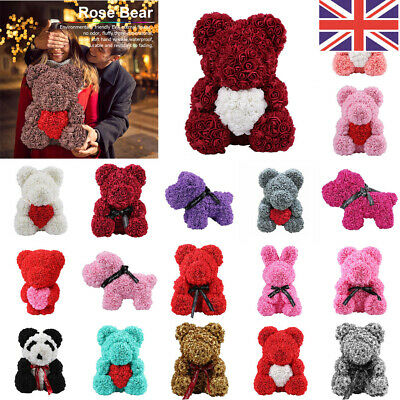 24/38/40cm Rose Teddy Bear Foam Rose Flower Bear Gift For Birthday Wedding UK