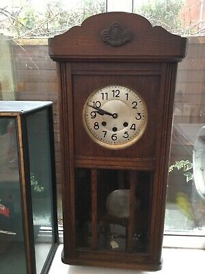 Antique Westminster Chimes Solid Oak Wall Clock.