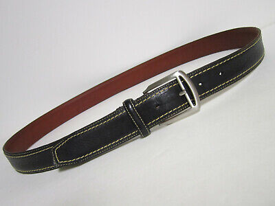 COLE HAAN Genuine Leather Men's 38 Belt Black w Ivory Stitching Made in Canada