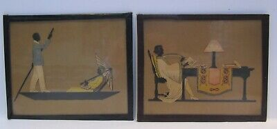 EARLY 20th CENTURY, Two Cut-Out Paper BOBELLA SILHOUETTES, SEATED LADY & another