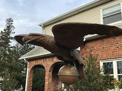 Vintage Antique Handcrafted Copper Eagle Weathervane with Large Copper Ball