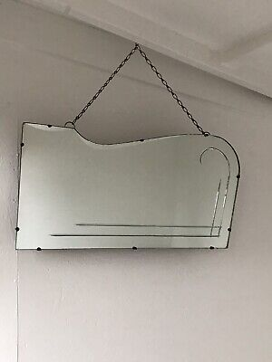 Vintage Mirror art deco Etched mirror with Hanging chain Aged Mirror Vintage