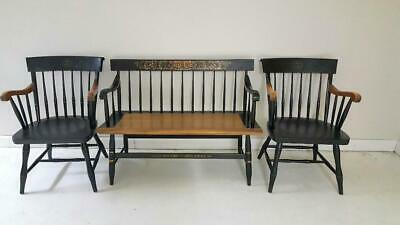 Wondrous L Hitchcock Black Harvest Decorated Bench Deacons Bench Ocoug Best Dining Table And Chair Ideas Images Ocougorg