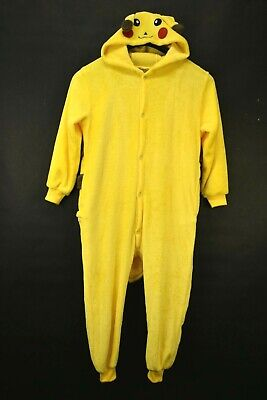 Pokemon Pikachu Boys Large Soft Fuzzy Button Up One Piece Sleep Play Wear