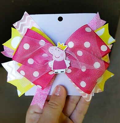PEPPA PIG INSPIRED GIRLS HAIR BOW CLIP HANDMADE BOUTIQUE RIBBON STACKED