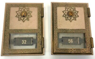 Vintage Pair Solid Brass 1969 Salsbury Postal Service USPS Post Office Box Doors