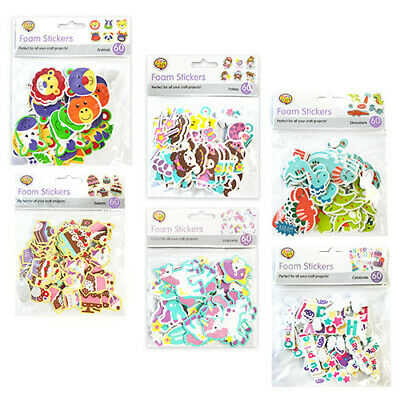 60 X Self Adhesive Craft Foam Shapes Childrens Colours Shapes Stickers Kids Art