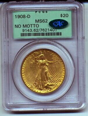 1908-D PCGS MS62 $20 Gold St Gaudens Double Eagle No Motto CAC