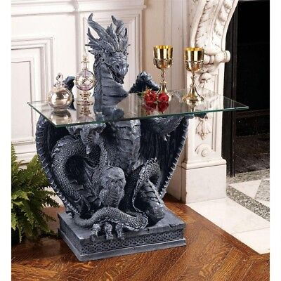 The Subservient 33 1/2 Dragon Glass Topped Sculptural Console Table