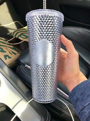NEW Winter Holiday Starbucks 2019 Venti Bling Platinum Studded Cold Cup Tumbler