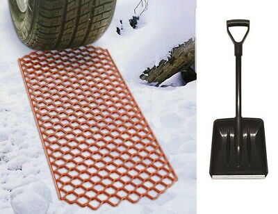 Durable Car Van 4x4 Ice Mud Sand Snow Grabber Rescue Traction Grip Mats & Shovel