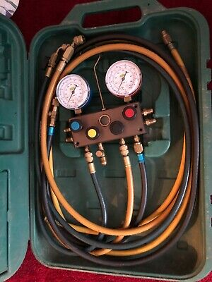Refco Air Conditioning  4 Way Manifold Gauges And lines