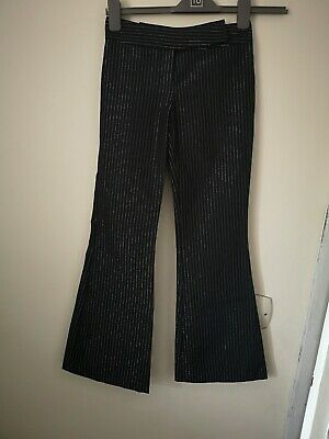 Kylie Girls Black And Silver Pinstriped Trousers Aged 9 Years Flare