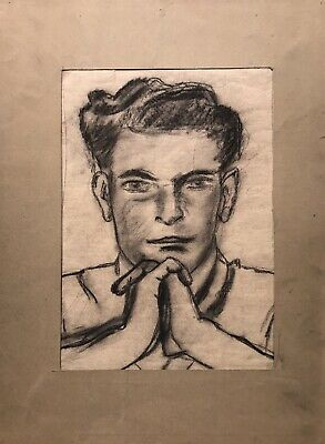 Drawing Coal Portrait Study Young Mann Entangled Hands, Chin Propped Up