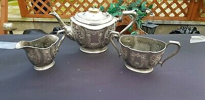 An Antique Silver Plated Tea Set With Beautiful floral  Respoused Patterns.epbm.