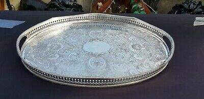 An Antique Silver Plated On Copper Rise And Fall Gallery Tray.made in sheffield.