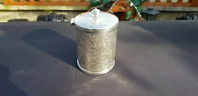 An Antique Silver Plated Tea Caddy With Engraved Patterns By Barker Ellis.