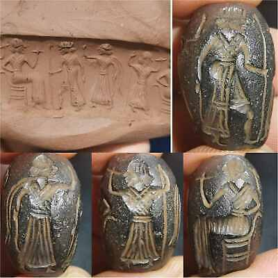 Sassanian Ancient Rare Stone king intaglio king Rare BEAD    # 43