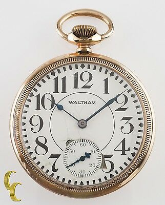 Yellow Gold Filled Antique Waltham Crescent St. Open Face Pocket Watch 16S 15J