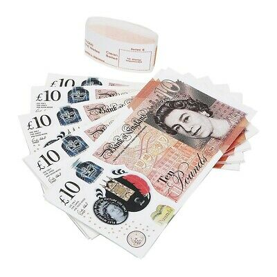 100 X10 Notes Realistic UK Pounds Prop Money British ACTUAL SIZE! Fast shipping