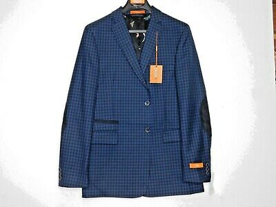 *Tallia Boy's Fully Lined Blazer Black/Navy Check w/ Elbow Patches Size 20R NWT
