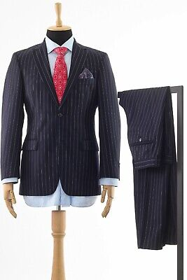 Mens HUGO BOSS Suit Blazer Trousers Wool Two Button Striped Navy Blue Size 36 XS