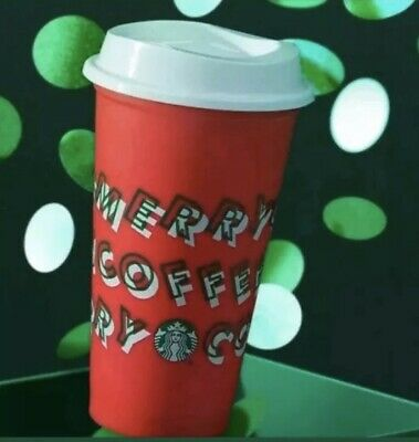 """Starbucks LIMITED EDITION 2019 RED Reusable Cup Grande 16oz """"MERRY COFFEE"""""""