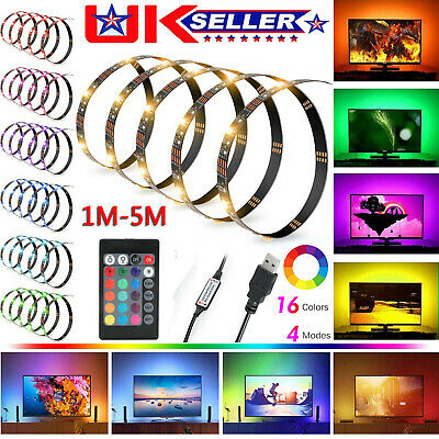 USB 1M-5M Light RGB Color 5050 LED Strip Lights TV Backlight + Remote Control UK