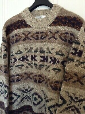Mens Lovely M&S St Michael Chunky Knit Jumper Made in Italy Wool & Alpaca Size L