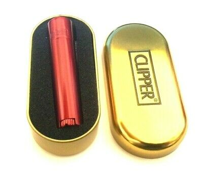 GENUINE CLIPPER RED DEVIL METAL REFILLABLE CIGARETTE LIGHTER with GOLD GIFT TIN