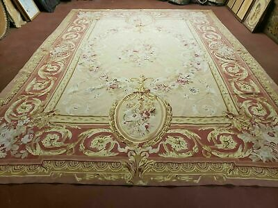 9' X 12' Gorgeous Hand Made Flat Pile Wool Rug French Aubusson Weave Savonnerie