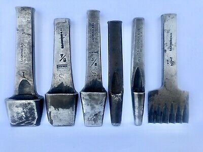 Vintage Lot Of 6 C.S. Osborne USA Leather Tool Round,  Oblong Punch 7/8 5/8 1""