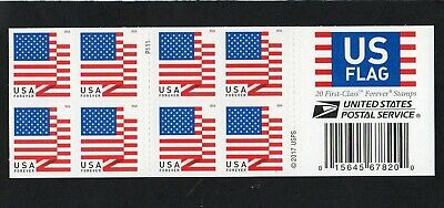 U.S. 2-SIDED BOOKLET PANE OF 20 SCOTT#5262a 2018 (50ct) FOREVER U.S. FLAG P#P111