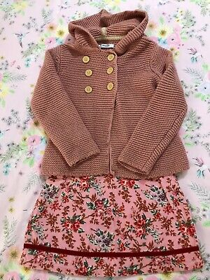 Mini Boden Cardigan Hoodie Top Pink Corduroy Skirt Outfit 3-4 Years
