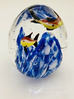 Vtg Nautical Glass Paperweight Fish Cobalt Blue White Swirls Bubbles Hand Blown
