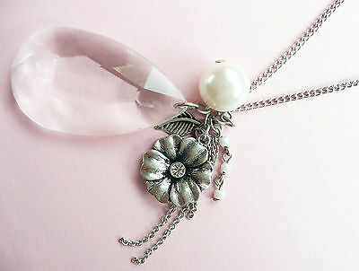 Accessorize Very Long Silver Necklace - Giant Clear Stone Drop, Large Pearl Drop