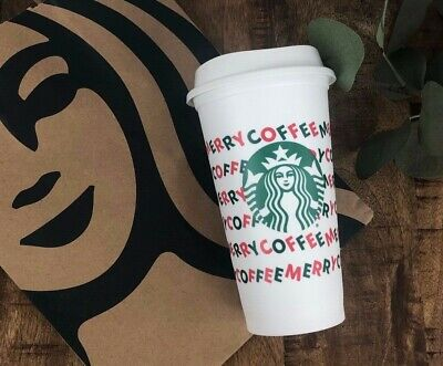 Starbucks Reusable Hot Cold White Cup 16oz Merry Coffee Christmas Holiday 2019