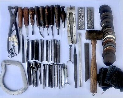 Vintage Lot Leather Tools Edge Bevelers Rawhide Stamps Awl Swaths Punch & Eyelet